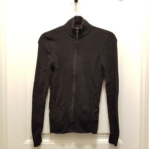 Denver Hayes knit zip mock neck sweater black